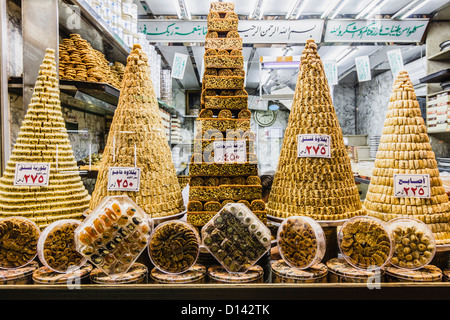 Baklava and other Syrian pastries on a window shop of Damascus, Syria - Stock Photo