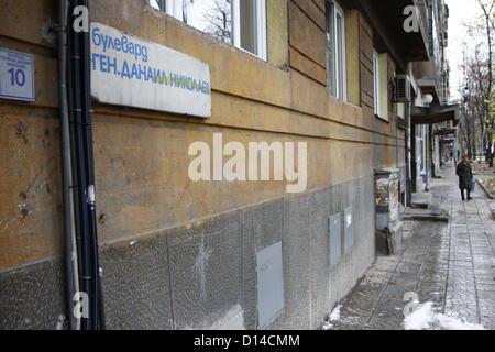 Sofia, Bulgaria. 6th December 2012. Front of a typical communist-era apartment block near Stochna Gara in Sofia. - Stock Photo