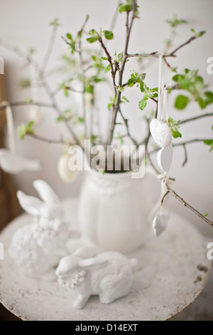 Ceramic decorations and plant - Stock Photo