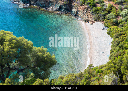 Remote beautiful beach at Sithonia of the Chalkidiki peninsula in Greece - Stock Photo