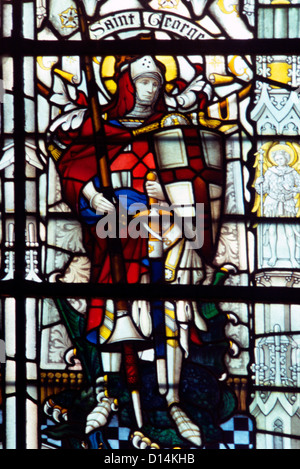 Salisbury Wiltshire England Salisbury Cathedral St George and the Dragon Stained Glass Window - Stock Photo
