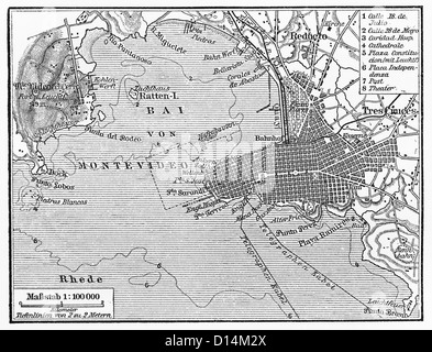 Vintage map of Montevideo at the end of 19th century - Stock Photo