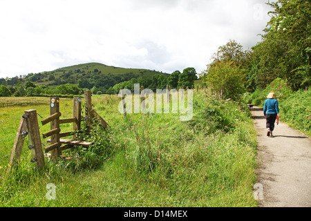 Ecton Hill as seen from the Manifold Way a footpath and cycle way in Staffordshire Peak District National Park England - Stock Photo