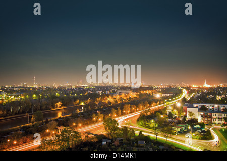 Aerial view of streetlights in city - Stock Photo