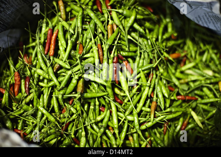 Pile of fresh chilis for sale in market - Stock Photo