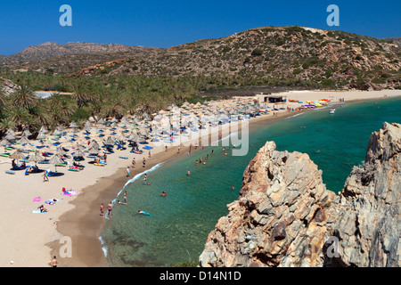 Vai palmtrees bay and beach at Crete island in Greece - Stock Photo