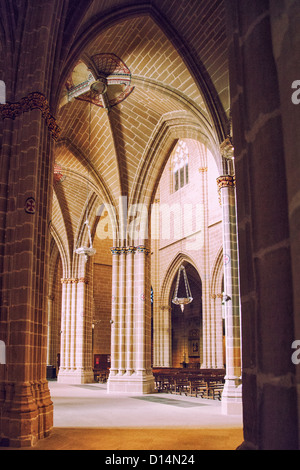 The Cathedral of Royal Saint Mary a 15th century Gothic temple with ribbed vaulted arches, and cruciform pillars - Stock Photo