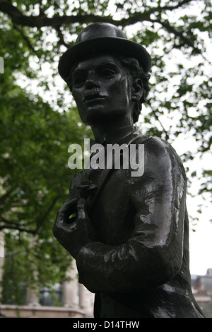 Statue of Charlie Chaplin on Leicester Square, London - Stock Photo