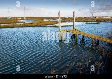 High tide at Tollesbury Saltings in Essex. - Stock Photo