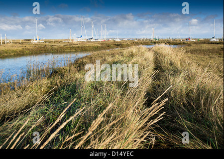 Boats moored on Tollesbury Saltings. - Stock Photo