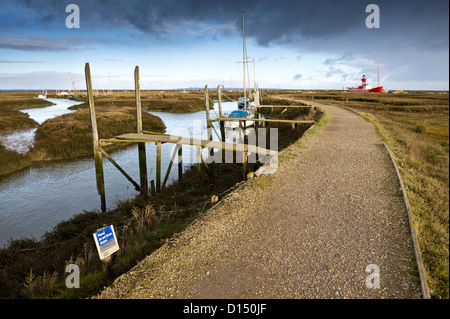 A footpath running through Tollesbury Saltings in Essex. - Stock Photo