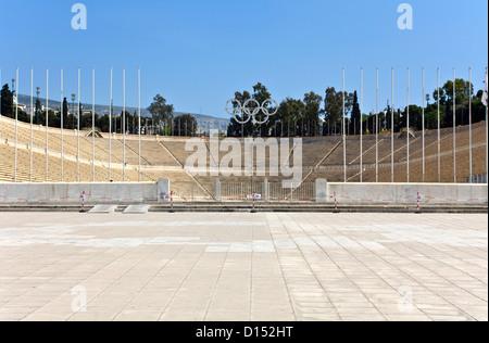 Panathenaic stadium at Arditos hill, Athens, Greece (Kallimarmaro) - Stock Photo