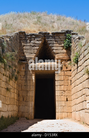 Treasury of Atreus or tomb of Clytemnestra, tholes Mycenae, Peloponnesus, Greece - Stock Photo