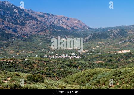 Lasithi plateau at Crete island in Greece - Stock Photo