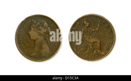1887 Half Penny coin from England. - Stock Photo
