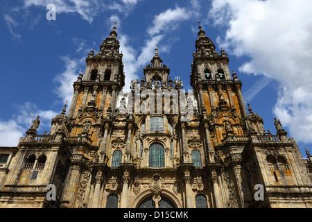 West facade of cathedral seen from Praza do Obradoiro, Santiago de Compostela , Galicia , Spain - Stock Photo