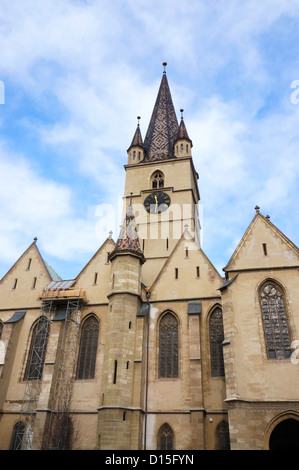 Facade of the evangelical cathedral of Sibiu, Romania - Stock Photo