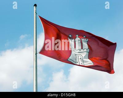 Hamburg, Germany, the national flag of the Free Hanseatic City of Hamburg - Stock Photo