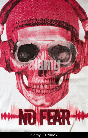 Detail on No Fear t-shirt - Stock Photo