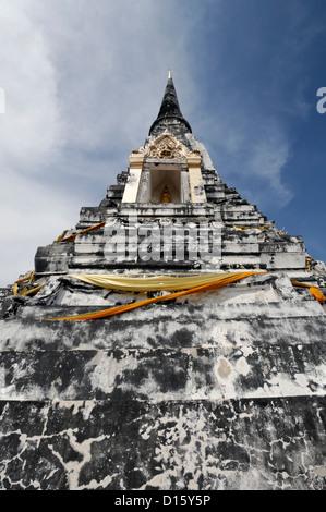 Wat Phu Khao Thong temple golden mountain Ayutthaya Thailand - Stock Photo