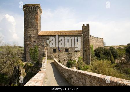europe, italy, lazio, vulci, castle of the abbey and bridge of the abbey - Stock Photo