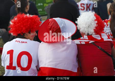 Polish soccer fans, Gdansk, Euro 2012, Poland - Stock Photo