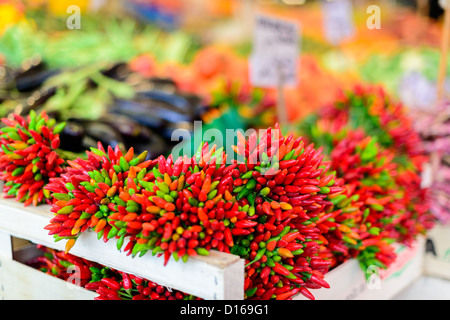 Peppers at Farmers Market in Venice, Italy - Stock Photo