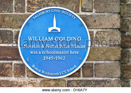 Blue plaque commemorating the author William Golding, Salisbury, Wiltshire England - Stock Photo