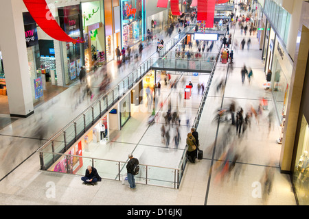 An internal shot of Manchester Arndale shopping centre during the Christmas lead up period. - Stock Photo