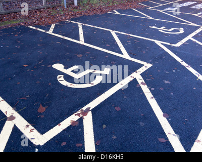 Two newly marked disabled parking spaces for disabled badge holders only - Stock Photo