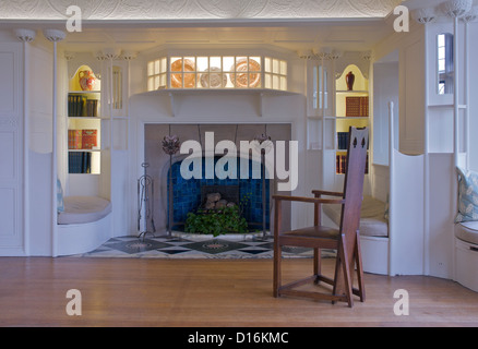 Fireplace in Blackwell, 'arts and crafts' house, overlooking Lake Windermere, near Bowness, Cumbria, England UK - Stock Photo