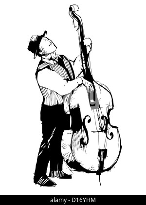 black and white sketch of a musician on the bass viols - Stock Photo