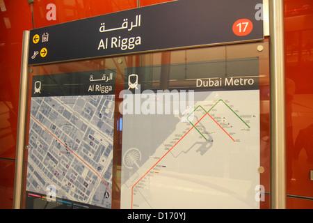 Dubai UAE United Arab Emirates U.A.E. Middle East Deira Dubai Metro subway public transportation Al Rigga Station - Stock Photo