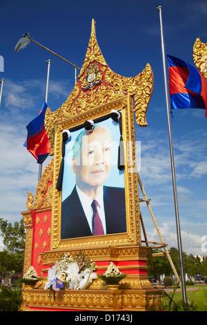 Memorial to the late King Norodom Sihanouk, Phnom Penh, Cambodia - Stock Photo