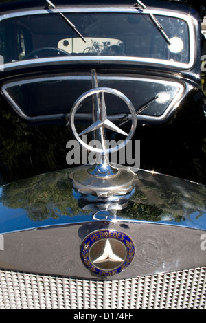 The front of a classic Mercedes car. - Stock Photo