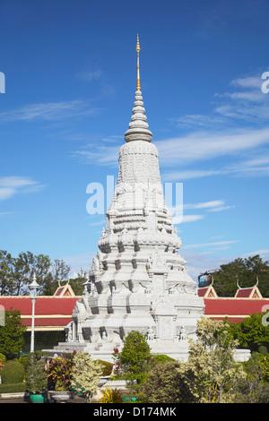 Stupa at Silver Pagoda in Royal Palace, Phnom Penh, Cambodia - Stock Photo