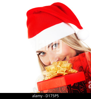 Photo of happy Santa Claus girl with red presents, new gift in hands, excited pretty female isolated on white background - Stock Photo