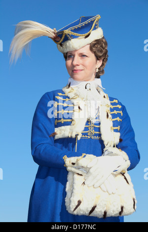 Portrait of a beautiful lady in 19th-century dress in Jena, Germany - Stock Photo