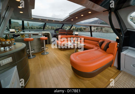 Italy, Savona (Genova), Atlantica luxury yacht (boatyard: Cantieri di Baia), cockpit - Stock Photo
