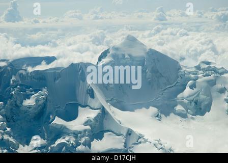 Aerial view of the Mountain Huayna Potosi - Stock Photo
