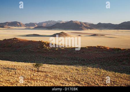 View across Chateau Valley in the NamibRand Reserve in Namibia - Stock Photo