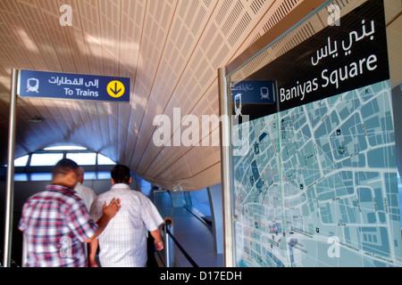 Dubai UAE United Arab Emirates U.A.E. Middle East Deira Baniyas Square Metro Station Green Line subway public transportation - Stock Photo