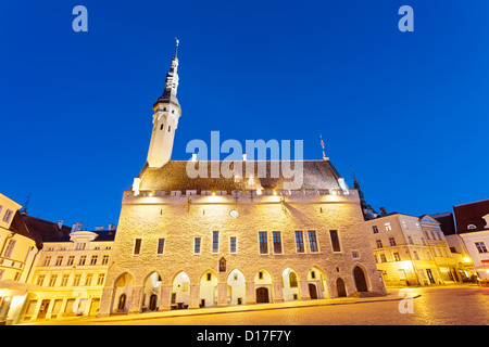 Church and town square lit up at night - Stock Photo
