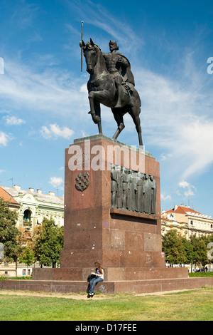Statue of Kralj Tomislav in King Tomislav Square in Zagreb, the capital of Croatia. - Stock Photo