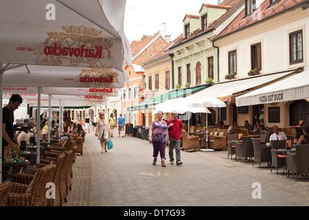 Cafes on Tkalciceva street in Zagreb, the capital of Croatia. - Stock Photo