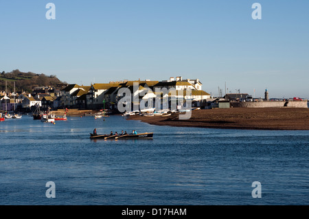 Back beach wraps around the spit at the head of the river Teign on the estuary side,Rowing on river Teign,Gig,Seine - Stock Photo