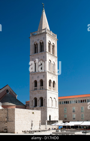 The bell tower of the Cathedral of St Anastasia in Zadar on the Adriatic coast of Croatia. - Stock Photo