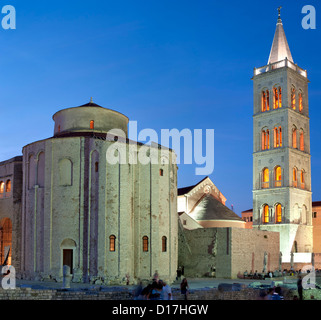 The church of St Donat and the bell tower of the Cathedral of St Anastasia in Zadar on the Adriatic coast of Croatia. - Stock Photo