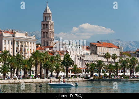 The waterfront promenade and tower of the Cathedral of Saint Domnius in the city of Split in Croatia.