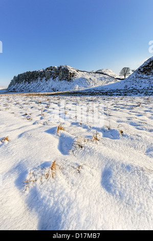 Winter view of Sycamore Gap and Highshield Crags on Hadrians Wall in Northumberland - Stock Photo